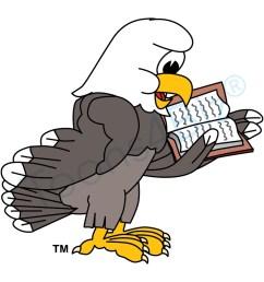 bald eagle mascot reading book clip art [ 1000 x 1000 Pixel ]