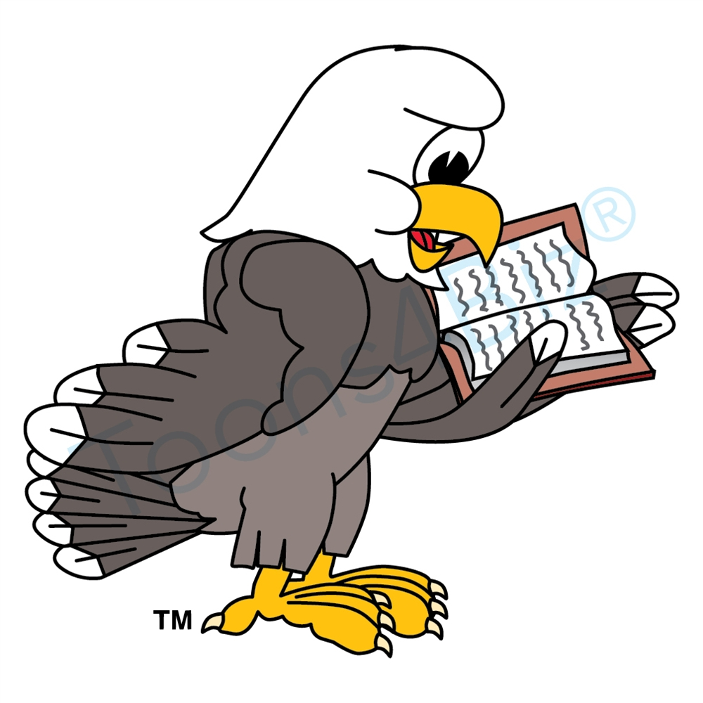 hight resolution of bald eagle mascot reading book clip art