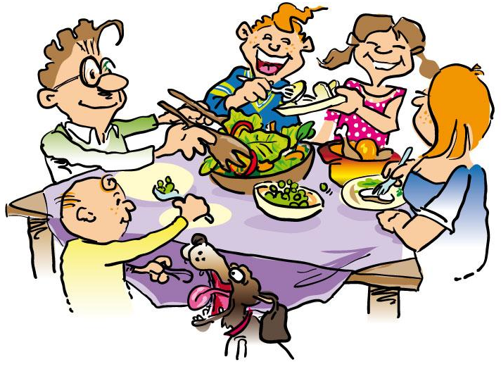 Family Dining Together Clip Art