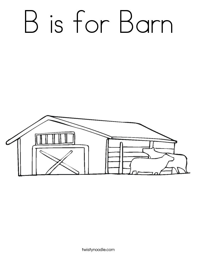barn outline Is for barn coloring page twisty noodle png