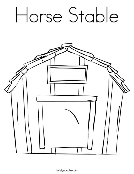 barn outline Horse stable coloring page twisty noodle jpg