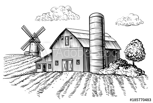 barn outline Rural landscape farm barn and windmill sketch
