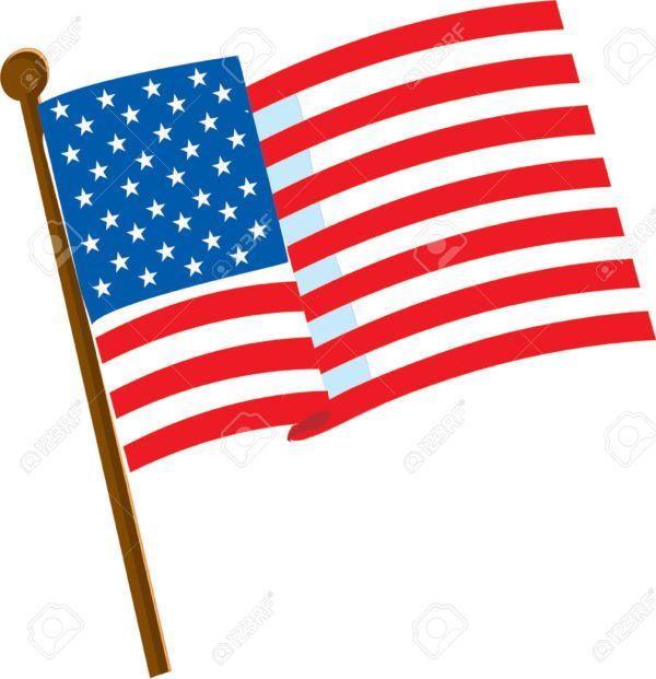 Cartoon American Flag Clipart White