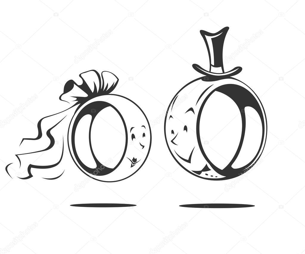 cartoon wedding ring Bridegroom and bride wedding ring