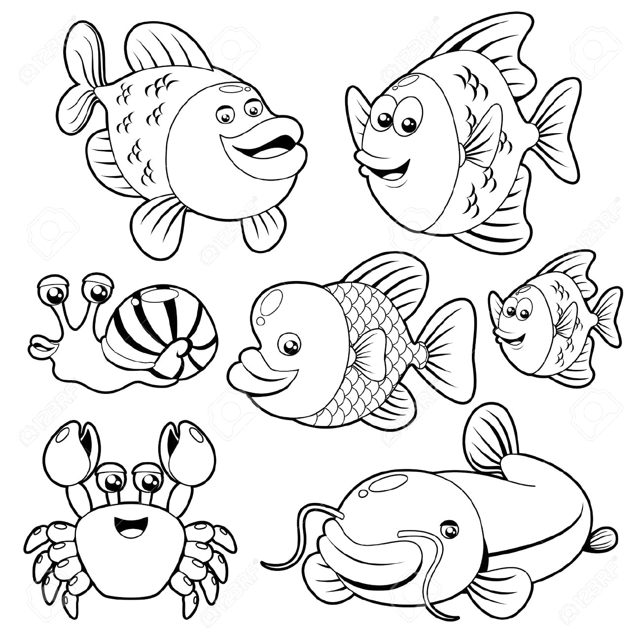 Free Fish Clipart Black And White Pictures