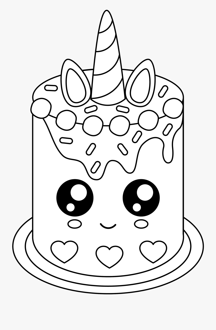 How To Draw A Unicorn Cake : unicorn, Unicorn, Coloring, Pages, Transparent, Clipart, ClipartKey