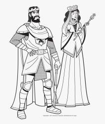 Medieval King And Queen In Black And White Coloring King And Queen Sketch Free Transparent Clipart ClipartKey