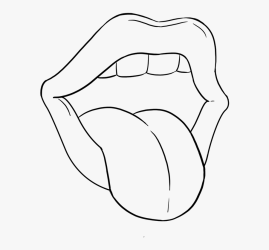 Transparent Mouth And Tongue Clipart Black And White Mouth With Tongue Sticking Out Drawing Free Transparent Clipart ClipartKey