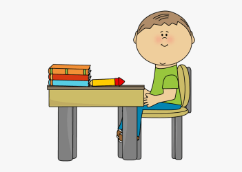 Clean Student Desk Clipart Boy Sitting At Desk Cartoon Free Transparent Clipart ClipartKey