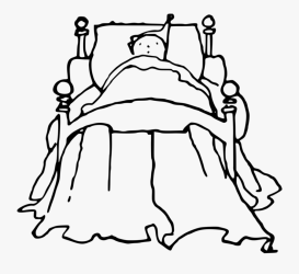 Line Art style black Boy In Bed Cartoon Black And White Free Transparent Clipart ClipartKey