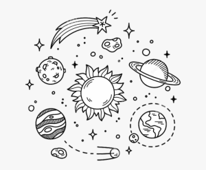galaxy planets stars drawings simple blackandwhite clipart transparent