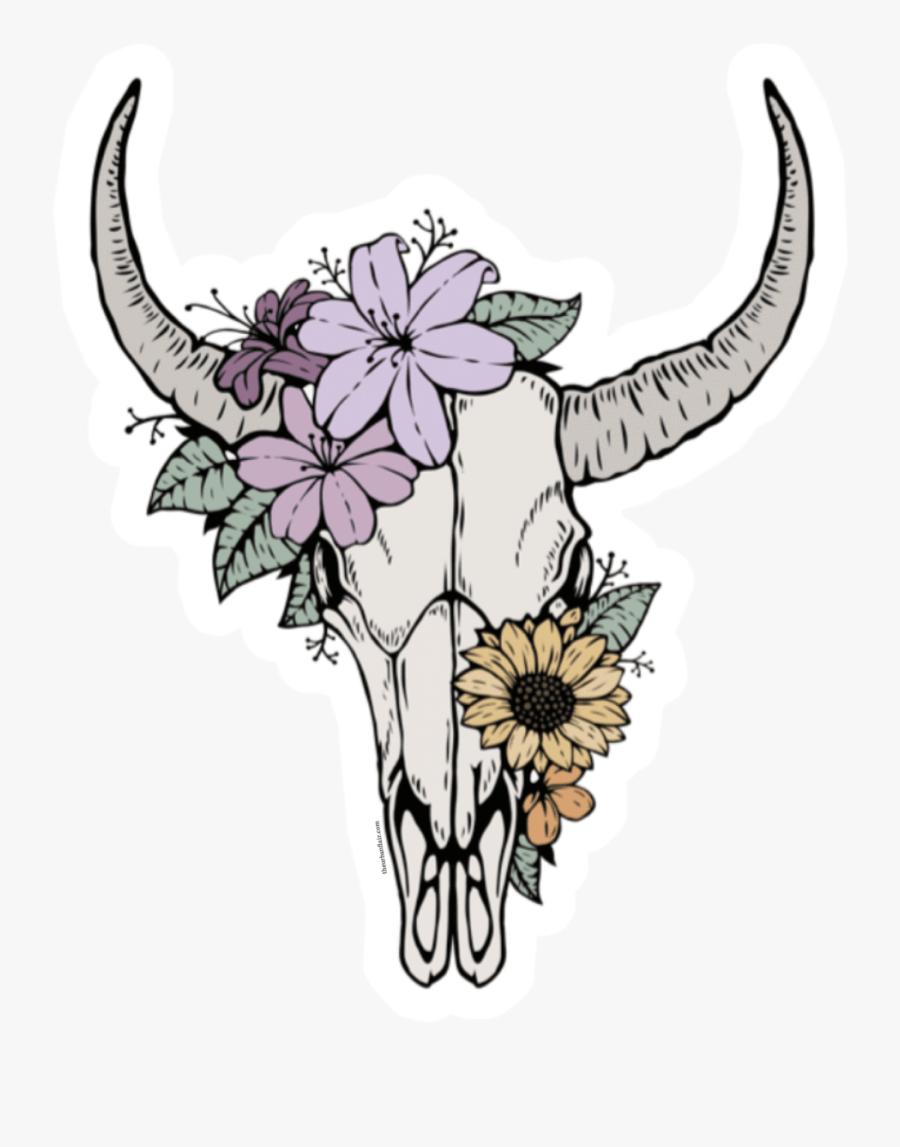 Bull Skull Clipart : skull, clipart, Floral, Skull, Tattoo, Transparent, Clipart, ClipartKey