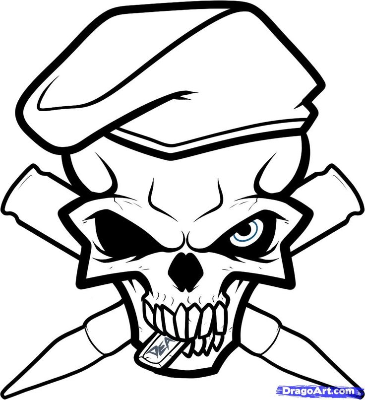 badass skull drawings  free download on clipartmag
