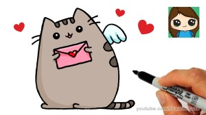 pusheen valentine valentines draw cat easy drawing drawings cards card step cartoon heart animal animals gato dibujo sketches fish pretty
