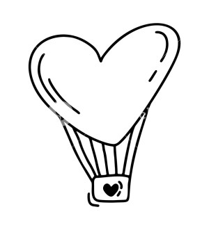 heart valentines hand drawn valentine monoline balloon form sketch drawings drawing vector doodle decor illustration icon clipart designs element isolated