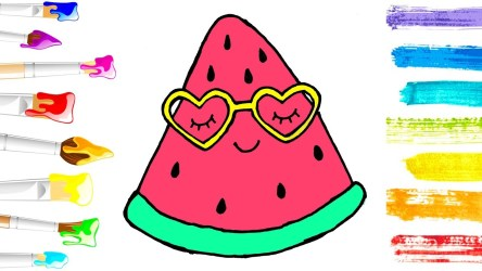 watermelon cute pages coloring colouring draw drawing fruit learn clipartmag colors