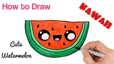 watermelon cute drawing easy draw cartoon super clipartmag iced tea