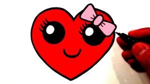 heart draw smiley easy drawing face hearts bow drawings faces kawaii cartoon sweet ترسم كيف قلب coloring