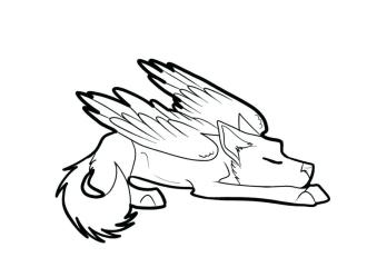 wolf winged coloring drawing pages cat easy cute drawings sleeping pup wings chibi tutorial clipart wolves lineart clipartmag getcoloringpages getcolorings