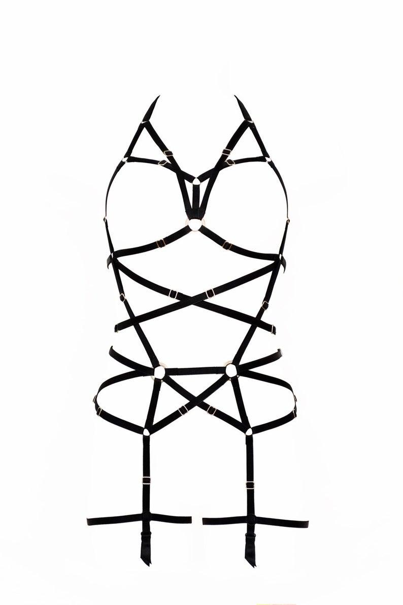 medium resolution of 794x1191 longline black harness full body black harness garter belt etsy