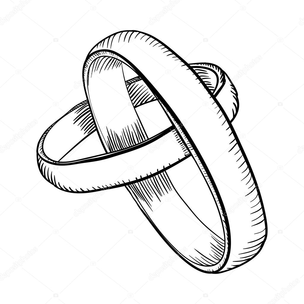 Interlocking Wedding Rings Drawing