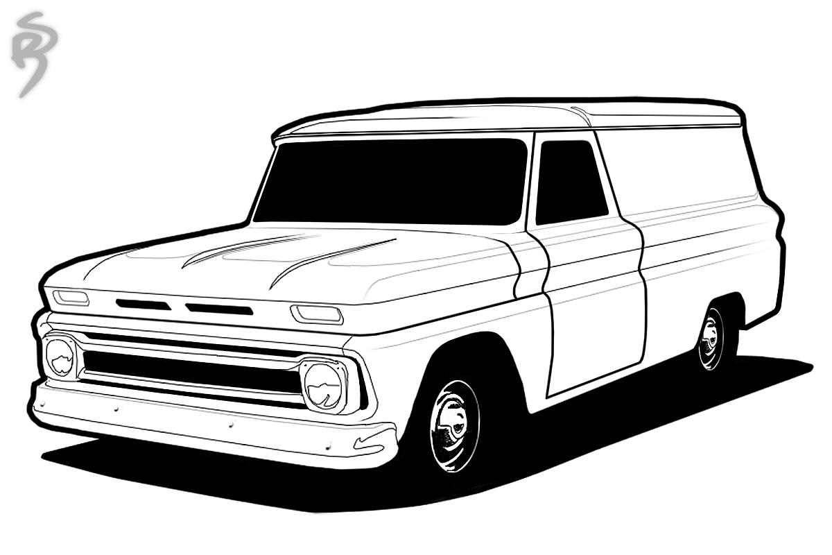 Lowrider Truck Drawings