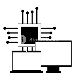 1000x1000 computer monitor laptop and motherboard circuit vector [ 1000 x 1000 Pixel ]
