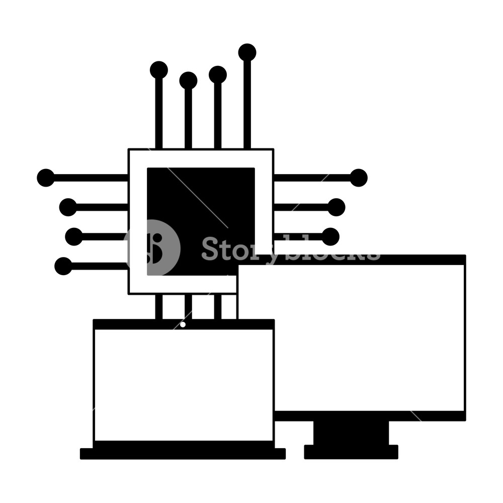 hight resolution of 1000x1000 computer monitor laptop and motherboard circuit vector
