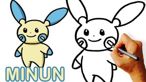 pokemon easy draw drawing very minun clipartmag