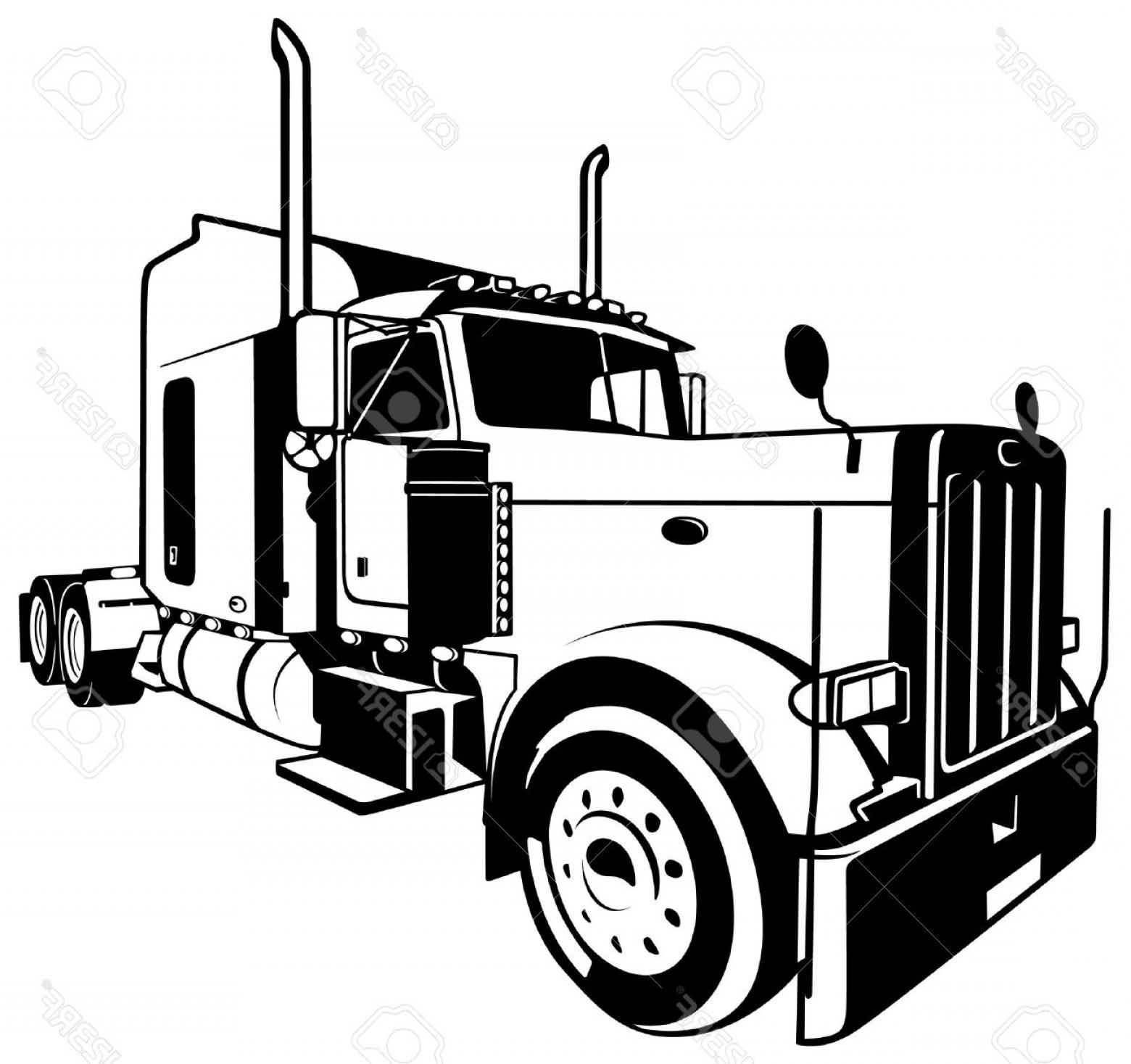 Semi Truck Line Drawing