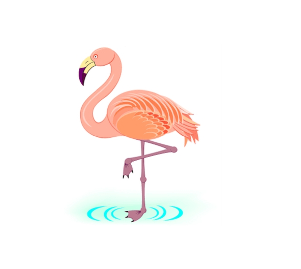 simple flamingo drawing free