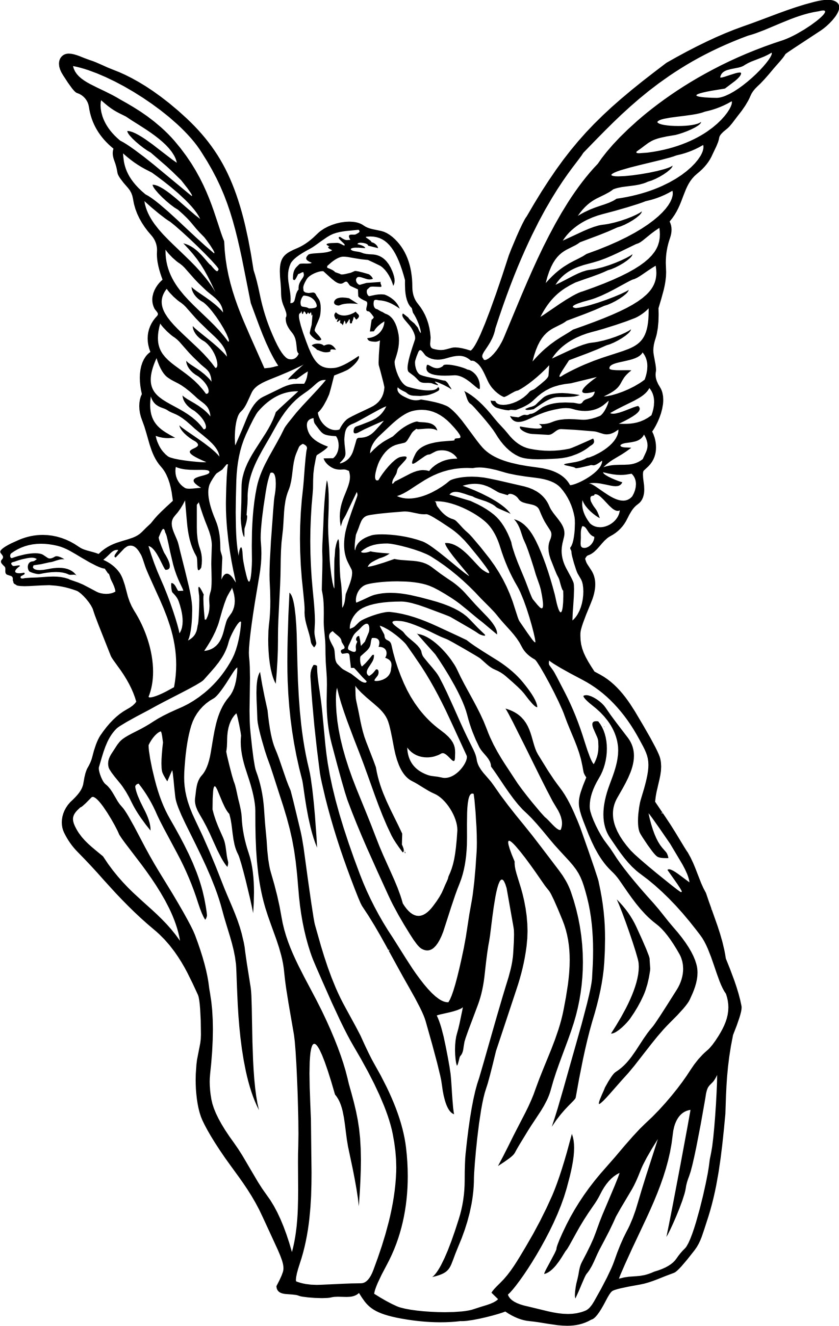Angel Clipart Free Black And White