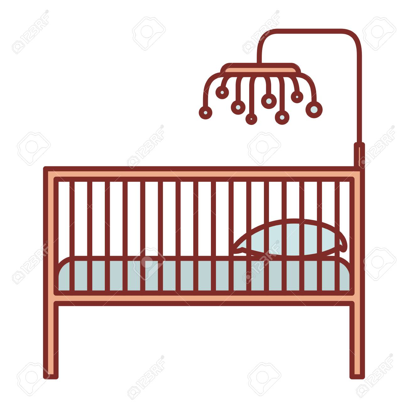 hight resolution of 1300x1300 color silhouette with thick contour of baby crib with wood railing