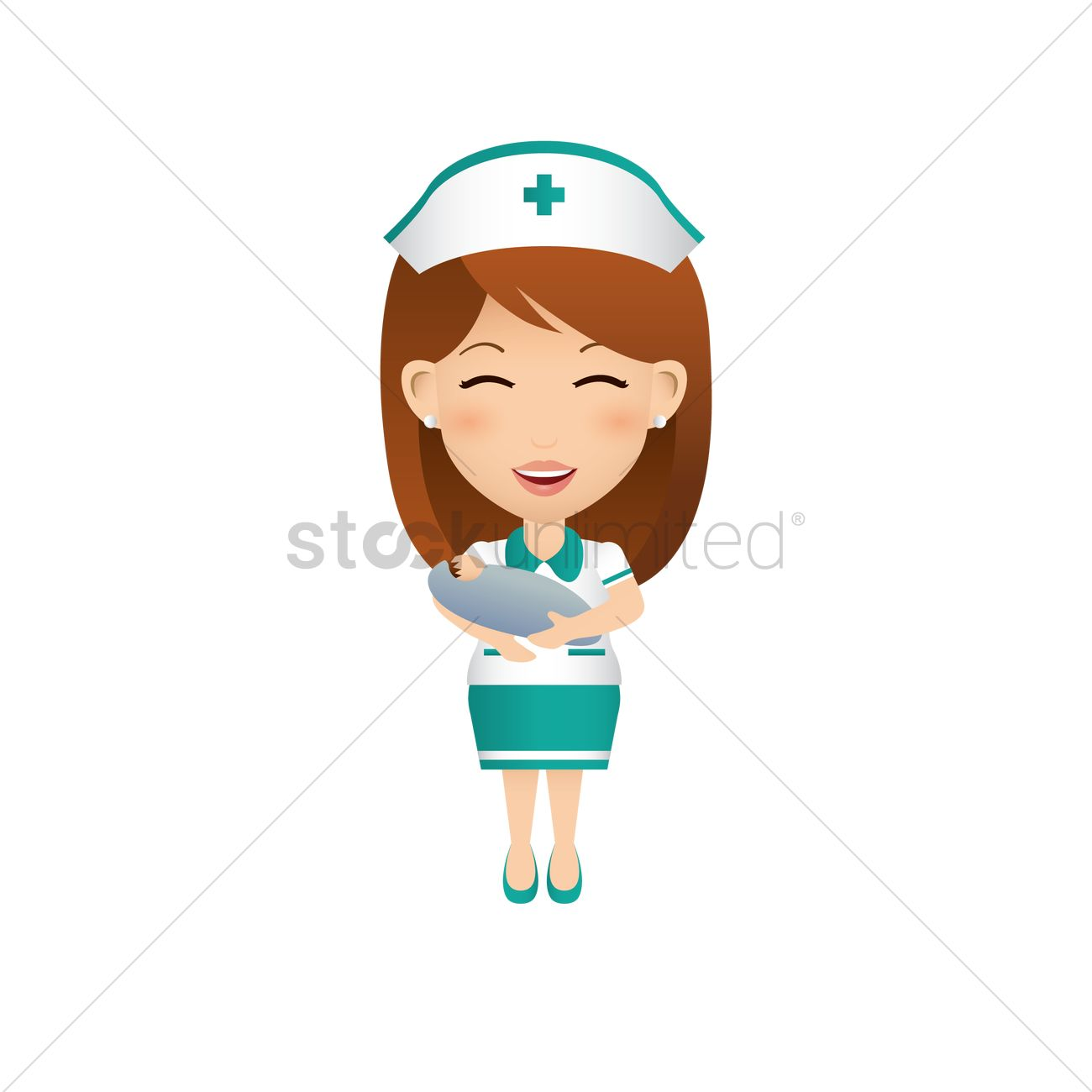 hight resolution of 1300x1300 nurse carrying baby vector image