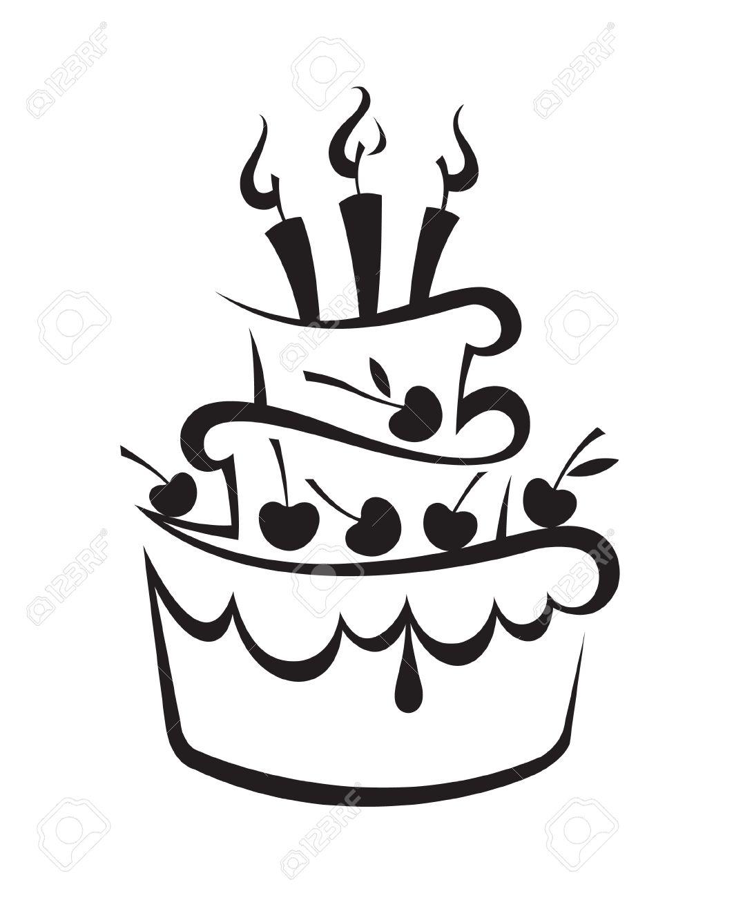 Birthday Cake Outline