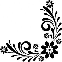 Border Flower Clipart Black And White