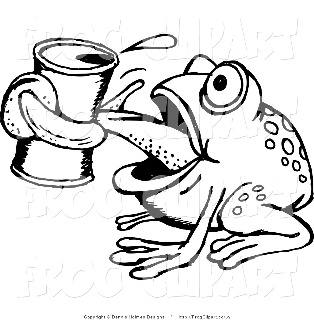 Black And White Frog Clipart