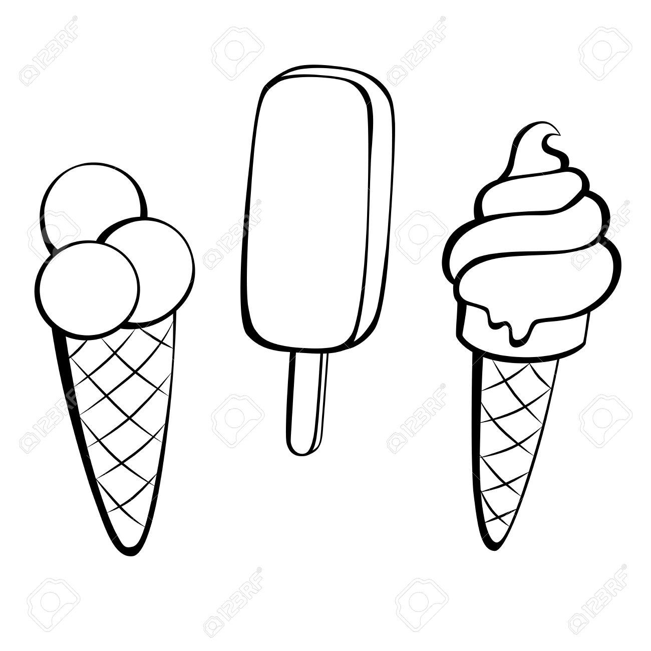 Black And White Ice Cream Cone Clipart