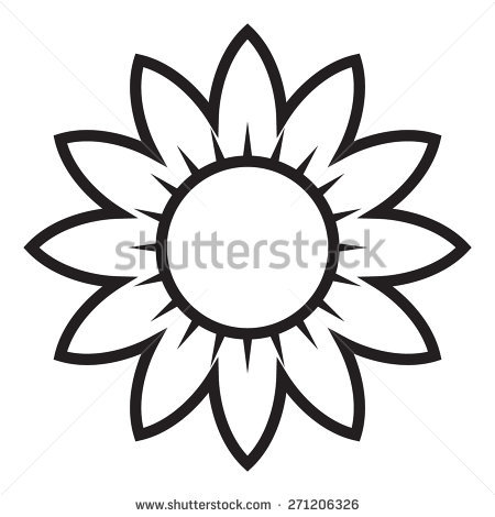 black and white sunflower clipart