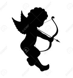 1300x1300 black vector silhouette of a cupid shooting arrow royalty free [ 1300 x 1300 Pixel ]