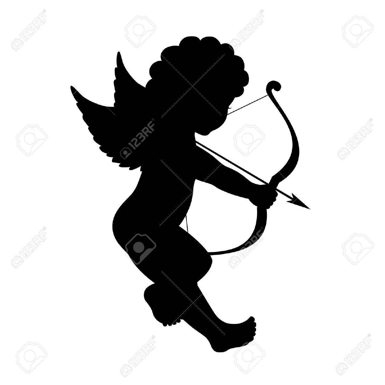 hight resolution of 1300x1300 black vector silhouette of a cupid shooting arrow royalty free