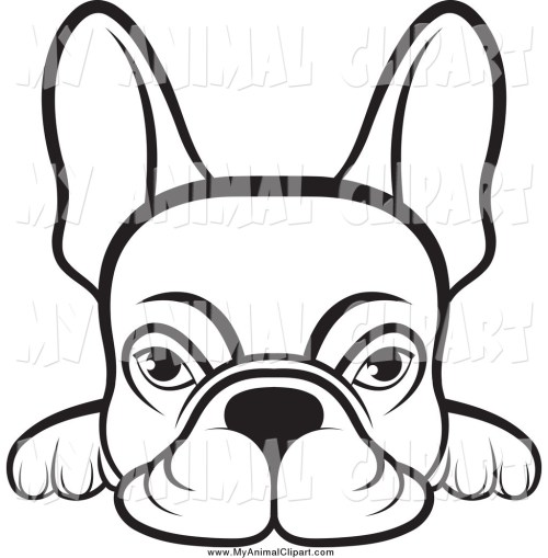 small resolution of 1024x1044 clip art of a lineart frenchie dog looking over a surface by lal