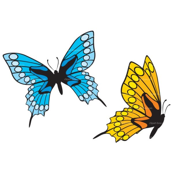 Yellow Flowers and Butterfly Clip Art