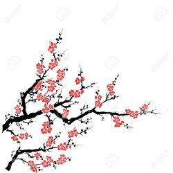 blossom cherry tree clipart drawing cartoon sakura branch easy clipartmag draw