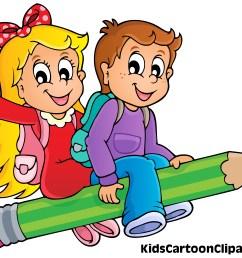 5132x3988 a cute boy and girl cartoon flying on pencil with school bag [ 5132 x 3988 Pixel ]