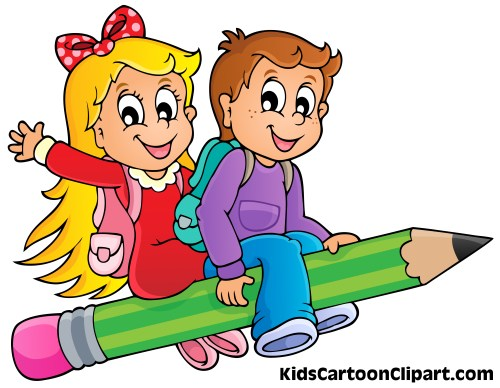 small resolution of 5132x3988 a cute boy and girl cartoon flying on pencil with school bag