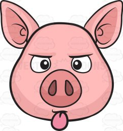 963x1024 a pig sticking out its tongue cartoon clipart [ 963 x 1024 Pixel ]