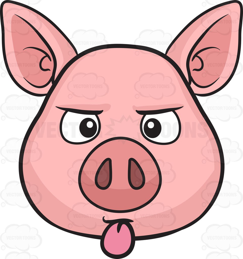 medium resolution of 963x1024 a pig sticking out its tongue cartoon clipart