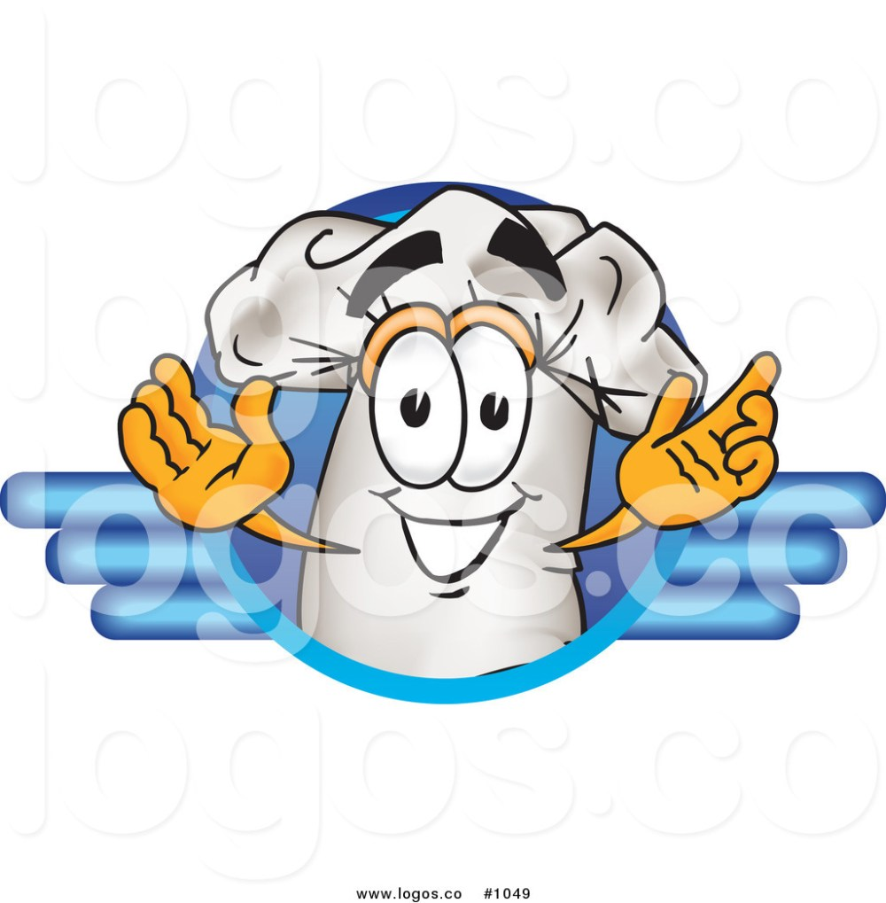 medium resolution of 1024x1044 royalty free cartoon vector logo of a chef hat mascot within blue