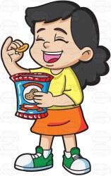 clipart chips bag snack cartoon potato she eating child kid children grabs satisfied looking very vector clipartmag vectortoons